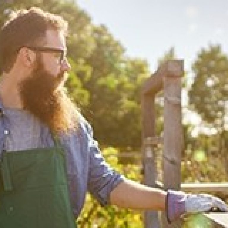 candid photo of bearded man in communal garden